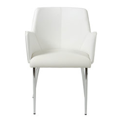 Euro Style - Sunny Arm Chair (Set Of 2) - White Leatherette/Chrome - Cozy! This is one of those chairs you can really get into. The full sided armrests wrap you up an invite you to stay. It has chromed steel frames. From what we hear, people seem to make more friends in these chairs.
