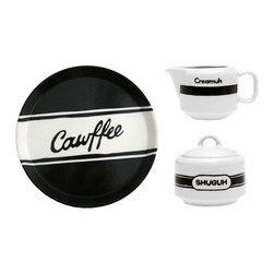 """3-Pc. Diner Dialect Coffee Set - Get that New York diner vibe and authentic accent no matter what coast you reside. Made in the USA, the """"Cawffee"""" tray accompanies """"Creamuh"""" and """"Shuguh"""" bowls that will be sure to help you serve up superior coffee. They're all made from high-fired ceramic that's both microwave and dishwasher safe."""
