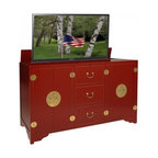 Asian Inspired TV Lift Cabinets - Dynasty Red TV Lift Cabinet