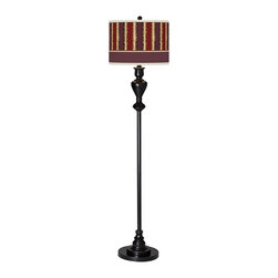 """Stacy Garcia - Traditional Stacy Garcia Lexington Stripe Cinnamon Glow Bronze Floor Lamp - Add a stylish and unique accent to your living space with this shapely floor lamp which is topped off with our patented Giclee shade. The shade features a colorful pattern designed by renowned hospitality designer Stacy Garcia. Warm light shines through illuminating the pattern and creating a truly distinctive look. U.S. Patent # 7347593. Metal construction. Black bronze finish with soft gold edging. Custom-printed Stacy Garcia Lexington Stripe Cinnamon pattern Giclee Glow shade. Takes one maximum 150 watt bulb (not included). On/off rotary switch. 58"""" high. Shade is 13"""" wide 10"""" high. 10"""" diameter base.  Metal construction.  Black bronze finish with soft gold edging.  Custom-printed Stacy Garcia Lexington Stripe Cinnamon pattern Giclee Glow shade.  Takes one maximum 150 watt bulb (not included).  On/off rotary switch.  58"""" high.  Shade is 13"""" wide 10"""" high.  10"""" diameter base."""