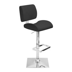 Lumisource - Adjustable Barstool in Black - Soft and sturdy leatherette cushions. Extra padded support. Smooth hydraulic system that adjusts from counter to bar height. Swivel seating and trendy. Square chrome footrest and base. Seat height adjusts hydraulically. Made from PU, chrome and foam. Assembly required. Seat height adjusts: 24 in. to 32 in.. Overall: 20 in. W x 16.75 in. D x 37 in. to 45.5 in. H (24.50)The Locust Barstool is made for comfort! Recommended for residential use.