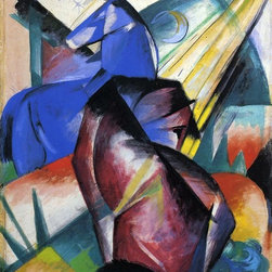 "Franz Marc Two Horses, Red and Blue - 16"" x 20"" Premium Archival Print - 16"" x 20"" Franz Marc Two Horses, Red and Blue premium archival print reproduced to meet museum quality standards. Our museum quality archival prints are produced using high-precision print technology for a more accurate reproduction printed on high quality, heavyweight matte presentation paper with fade-resistant, archival inks. Our progressive business model allows us to offer works of art to you at the best wholesale pricing, significantly less than art gallery prices, affordable to all. This line of artwork is produced with extra white border space (if you choose to have it framed, for your framer to work with to frame properly or utilize a larger mat and/or frame).  We present a comprehensive collection of exceptional art reproductions byFranz Marc."
