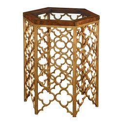 Our Collection - Side Table - Hexagon shape side table. Light Walnut Wood frame glass inset top on a gild metal base.