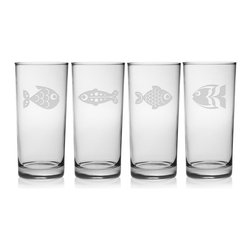 Susquehanna Glass - Fish Assortment Hiball Glass, 15oz, S/4 - Each 15 ounce tumbler is sand etched with a different playful fish design. Dishwasher safe. Sold as a set of four. Made and decorated in the USA.