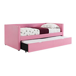 Standard Furniture - Standard Furniture Lindsey Twin Daybed in Pink - For a splash of color or an extra bit of function in a youth bedroom, add in our Lindsey Daybeds and Storage Cubes with their smart and versatile design lines. - 66450-PN.  Product features: The clean lined Daybed has a trim square profile and a pull out trundle unit for extra sleeping space. ; To support bedding, there is the sturdy Euro slat system for equal weight distribution and safety.; An open Storage Cube matches the Daybed, and works as a nightstand or bookcase with shelves for storage of books, toys or collectibles. ; Both pieces have an engineered wood product frame and are fully upholstered in soft and durable PVC fabric with accent topstitching.; Color choices available include brown, white, pink or lavender. ; Surfaces clean easily with a soft cloth.. Product includes: Headboard & Footboard (1); Rails w/ Bed Box (1). Twin Daybed in Pink belongs to Lindsey Collection by Standard Furniture.