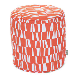 Majestic Home - Outdoor Salmon Sticks Small Pouf - A little pouf can go a long way in your home, serving in a pinch as a footrest, stool or impromptu side table. This cute and casual beanbag pouf is designed to be adaptable to your life; it's soft and easy to move around wherever it's needed, and the cover can be removed for cleaning up spills and smudges. It has a fresh, modern print to add some color to your space, and it's even safe for outdoor use.