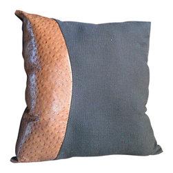 Gambrell Renard - Gambrell Renard Tan Ostrich Print Cowhide Leather & Gray Pillow - Materials: Tan Ostrich Print Cowhide Leather