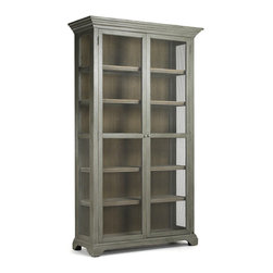 Kathy Kuo Home - Lucille French Country Gray Wash Chicken Wire Bookcase Cabinet - Bookcase-meets-cabinet in this impressive, multi-purpose hardwood piece. Use this vintage inspired cabinet to display colorful kitchenware in your rustic dining room or kitchen - the colors will pop against its muted green-grey finish. Or use it as a unique bookcase in your urban loft - the open chicken wire design will beautifully showcase your treasured tomes.