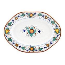Artistica - Hand Made in Italy - Fruttina: Hexagonal Lg. Oval Platter - Fruttina Collection