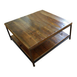 "Urban Wood Goods - Sustainable Urban Wood and Steel Coffee Table - Thick, 40"" x 40"" - Think of it as added floor space. This striking coffee table is crafted from salvaged floor joists originally milled from old-growth Douglas fir. Add to that, it's designed with an extensive lower level that can hold baskets, books or other belongings, leaving the top free for your more immediate needs."