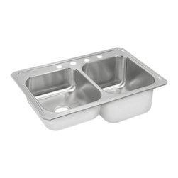 """Elkay - Elkay STCR3322R3  Gourmet Double-Bowl Sink - Elkay's STCR3322R3 is a Gourmet Double-Bowl Sink. This sink is constructed of 20-gauge type 304 nickel-bearing stainless steel, and can be mounted on almost any surface. It features a 7"""" standard bowl, a 10-1/4"""" deep bowl, and two 3-1/2"""" drain openings. This sink comes with a three-hole faucet mount, and comes with the deep bowl on the right-side."""