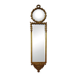 Sterling Industries - Sterling Industries 132-006 Signature Mirrors in Gold Leaf - Antique Reproduction Wall Mirror With Convex Top Mirror