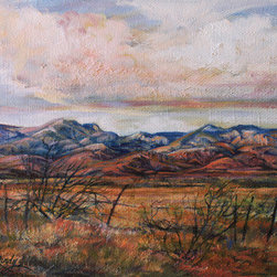"""""""West Texas Autumn Gold"""" (Original) By Lindy Cook Severns - Color Bounding From This Texas Sky To The High Desert Mountains To Rich Grassland Inspired This Oil Sketch Of Arid Ranchland That Is Far From Drab. The Rough Texture Of The Stretched Linen Canvas I Used Kept Me Concentrating On Color And Shape Patterns."""