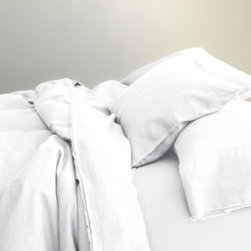 Eileen Fisher - Eileen Fisher Washed Linen Comforter Cover - Double/Queen - Pure White - This airy, soft pure linen bedding by Eileen Fisher feels wonderful year-round and only gets better over time. Picot detailing and raw-edge double fringe on pillowcases and flat sheet. Eileen Fisher Home exclusively by Garnet Hill.
