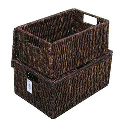 Woven Grass Rectangular Lidded Storage Baskets