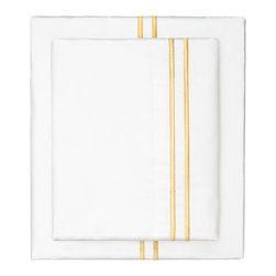 Marigold Yellow Lines Embroidered Sheet Set - The simplicity of clean lines makes our embroidered dual striped percale sheet set the ultimate source of luxury. Beautifully embroidered and luxurious, our marigold yellow satin-stitched embroidered sheets are woven from 400 thread count extra-long staple cotton.