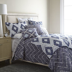 """John Robshaw - John Robshaw King Talas Chevron Quilt, 110"""" x 92"""" - John Robshaw is our go-to guy for eye-opening patterns reproduced from hand-block-printed originals. This indigo collection features Pamir diamond duvet covers and shams of 200-thread-count cotton percale. Talas chevron quilts with striped reverse are..."""