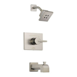 Delta - Delta T14453-SSH2O Vero Monitor 14 Series Tub and Shower Trim (Stainless) - The Vero series brings a visionary style and modern feel to your home.