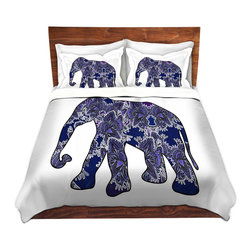 DiaNoche Designs - Duvet Cover Twill by Susie Kunzelman - Elephant 5 - Lightweight and soft brushed twill Duvet Cover sizes Twin, Queen, King.  SHAMS NOT INCLUDED.  This duvet is designed to wash upon arrival for maximum softness.   Each duvet starts by looming the fabric and cutting to the size ordered.  The Image is printed and your Duvet Cover is meticulously sewn together with ties in each corner and a concealed zip closure.  All in the USA!!  Poly top with a Cotton Poly underside.  Dye Sublimation printing permanently adheres the ink to the material for long life and durability. Printed top, cream colored bottom, Machine Washable, Product may vary slightly from image.