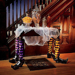 Pair of Halloween Witch Table Legs - These fabric leg covers are so much fun. Slide them onto your dining room table legs — and hope your table doesn't run off.