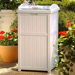 Suncast Trash Hideaway Plastic 33 Gallon Outdoor Trash Can - Keeping a trash receptacle nearby doesn't mean you have to put up with unsightly metal cans or boring black plastic bins. The Suncast Trash Hideaway Plastic 33 Gallon Outdoor Trash Can is crafted of highly resilient resin that is practically maintenance-free. You can just hose it down when it gets dirty! It has a latching lid that won't fly open unexpectedly and a classic taupe color that looks nice just about anywhere. You won't need to buy any special garbage bags for this can - standard 30- to 33-gallon options will do fine. Assembly is quick easy and requires no tools.About Suncast Corporation:Suncast is known for its high-quality low-maintenance storage products and accessories. Organize gardens back yards garages basements and more. Suncast's full line of products includes everything from storage lockers to sheds and bins. Suncast pieces are designed for low-maintenance worry-free performance that's versatile enough to suit your every need.
