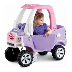 Little Tikes - Little Tikes Princess Cozy Coupe Truck Riding Push Toy - 627514MP - Shop for Tricycles and Riding Toys from Hayneedle.com! The Little Tikes Princess Cozy Truck Push Toy makes a great ride for any 1.5-5 year old girl. This colorful pink and purple truck with big blue eyes features off-road wheels tail and headlight decals opening and closing driver's door and a flatbed with drop-down tailgate so she can haul a few of her favorite toys! The gas cap opens so she can pretend to give her vehicle a fill-up and there's also a working electronic horn that she'll go crazy over (even if it drives you crazy too)! Assembly is easy but the gal behind the wheel might need a push! About Little TikesFounded in 1970 the Little Tikes Company is a multi-national manufacturer and marketer of high-quality innovative children's products. They manufacture a wide variety of product categories for young children including infant toys popular sports play trucks ride-on toys sandboxes activity gyms and climbers slides pre-school development role-play toys creative arts and juvenile furniture. Their products are known for providing durable imaginative and active fun. In November of 2006 Little Tikes became a part of MGA Entertainment. MGA Entertainment is a leader in the revolution of family entertainment. Little Tikes services the United States from its headquarters and manufacturing facility in Hudson Ohio but also operates several manufacturing and distribution centers in Europe and Asia.
