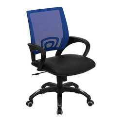 Flash Furniture - Flash Furniture Mid Back Mesh Computer Chair in Blue - Flash Furniture - Office Chairs - CPB176A01BLUEGG - For a contemporary and stylish mesh computer chair for your home or office there's no need to look any further. This ergonomic task chair with mesh back from Flash Furniture will provide a comfortable and functional addition to any setting. Featuring a cool mesh back leather seat and a designer base this computer chair will provide all the necessities for a home or office desk chair with a few extra features. [CP-B176A01-BLUE-GG]