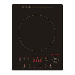 SPT Appliance - Built-in Induction in Black - Includes micro-crystal ceramic plate. Built-in or freestanding application. LED panel. Touch-sensitive with control lock. Cook and warm functions. Automatic pan detection. Seven power settings (100-300-500-700-900-1100-1300 watts). Thirteen keep warm settings (100-120-140-160-180-190-210-230-250-280-300-350-390 degree F). Upto 8 hours timer. ETL, ETL-Sanitation and FCC certified. Input voltage:120 V/60 Hz. Power consumption: 1300 watts. Warranty: One year. 15 in. L x 11.625 in. W x 2.25 in. H (6 lbs.)Micro-Induction Cooktop provides the best in cooktop performance, safety and efficiency. Induction heats as electricity flows through a coil to produce a magnetic field under the ceramic plate. When a ferromagnetic cookware is placed on the ceramic surface, currents are induced in the cookware and instant heat is generated due to the resistance of the pan. Heat is generated to the pan only and no heat is lost. As there are no open flames, inductions are safer to use than conventional burners. Once cookware is removed, all molecular activity ceases and heating is stopped immediately.