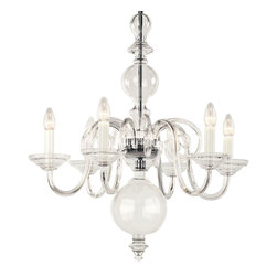 "Inviting Home - Egmont Crystal Chandelier - Egmont clear crystal glass chandelier; 24"" x 30""H (6 lights); assembly required; 6 light chandelier made of hand-blown smooth crystal glass; all metal parts are chromium plated; Preciosa genuine Czech crystal. The chandelier featuring glass spheres placed in the central rod has been produced since 17th century. In the 20th century the original metal was replaced with both clear or colored glass; * ready to ship in 2 to 3 weeks; * assembly required; The design of all crystal glass chandeliers are based on the combination of classical shapes and modern decorations. Plane shapes in clear crystal or other colors mingle with decorative elements such us straight cuts optic or spun crystal glass. As fixed stars among lighting fixtures these types of chandeliers become timeless sources of illumination suitable for various interiors. These chandeliers are manufactured using oxygen fuel technology. Only few manufacturers in Europe that use oxygen fuel technology. This allows for better control and manage the preparation process of glass. The result is impeccably pure glass of highest quality with minimal amount of visual irregularities. Every component passes thorough strict internal Quality Control processes. Highest quality European production with certified standards. UL approved - dry location; hardwire; 6x E12/14 - 40W bulbs; bulbs not included. 3 to 4 feet chain drop provided. Hand crafted in Czech Republic."
