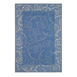 Safavieh - Safavieh Indoor/ Outdoor Oasis Blue/ Natural Rug (9' x 12') - This outdoor rug has a blue background and displays stunning panel color of natural.