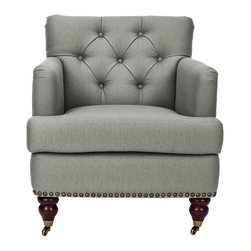 Safavieh Furniture - Grace Upholstered Club Chair - Upholstered seat and back. Tight tufted back. Nail head trim. Made from wood and grey/green linen. No assembly required. 34.4 in. W x 28 in. D x 32.7 in. H (39 lbs.)The Safavieh Grace Green Grey Club Chair features high arms and a deep seat. While the arching backrest and tight tufted back provide a fresh classic design that will complement any room.