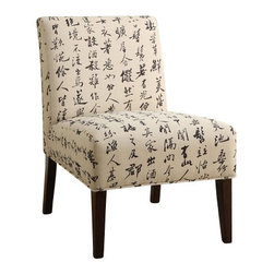 """ACMACM59071 - Aberly Collection Chinese Script Print with Tapered Legs Accent Side Chair - Aberly collection Chinese script print with tapered legs accent side chair. Measures 30"""" x 22"""" x 33"""" H. Some assembly required."""
