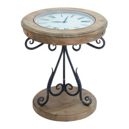 Benzara - Table Clock with Innovative Pattern and Elegant Curves - Add elegance to your living space with this wood table clock. This wonderful piece of art is crafted with a blend of metal and wood with the expertise and excellent craftsmanship of renowned artisans. Crafted with fine wood and metal, it is sure to last longer for years to come. This wood table clock is ideal to be placed in your living room or as a coffee table in the patio. On the wooden base stands a metallic leg that is uniquely designed with elegant curves. The metal base further extends into a wider support that is exclusively designed with an innovative pattern. The base is made up of round shaped wood that is not only attractive but also provides better stability to the table. A wooden clock of beautiful round shape rests on top of the metallic support. The clock displays time with a white dial and roman numerals of black color that brings a contemporary style to this elegant furniture..