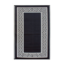 Fab Habitat - Athens Black and Cream Reversible Outdoor Area Rug - This is the rug I chose for my patio. It's made from recycled plastic bottles. I love the classic Greek key design, and it is reversible.