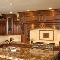 "Tallisman Granite Kitchen with Thick Edges - Beautiful granite counter tops with 2.5"" mitered edge profile hand crafted by Custom Marble & Granite of Butler, PA.  The cabinets are custom built by Acclaimed Kitchens."