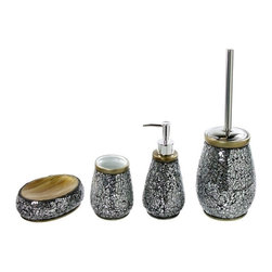 Gedy - 4 Piece Ceramic Bathroom Accessory Set - This bathroom accessory set is made of ceramic, glass and stainless steel.
