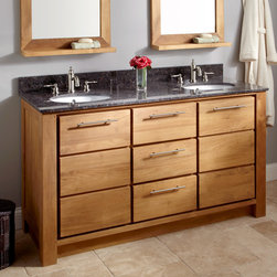 "60"" Venica Teak Double Vanity for Undermount Sinks - Topped with a pair of porcelain undermount sinks, the 60"" Venica Teak Double Vanity provides space and storage for two."