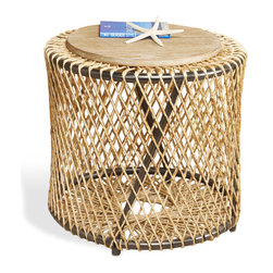 Kathy Kuo Home - Saranda Beach Style Wood Rope Round End Side Table - Imagine the waves crashing on the shore as this natural, weathered rope detailing and distressed wood evoke casual, coastal ease. The airy, open design feels simple and elegant as an occasional or end table.