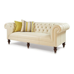 Mitchell Gold + Bob Williams Chester Sofa - The Chester sofa is a beautifully proportioned, button-tufted fabric version of that icon of English libraries. Pleated roll arm at the same height as the back; tight seat left untufted for comfort. Gracefully turned feet in front, all with ferrules.