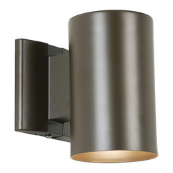 "Kichler - Contemporary Bronze 7"" High Outdoor Dark Sky Tube Light - Clean modern design yet adaptable for any decor this outdoor wall light with a bronze finish makes a wonderful home accent. Takes one 75 watt bulb (not included). 7"" high. 4 1/2"" wide. Extends 7"" from the wall.  Bronze finish.  Design by Kichler lighting.  Takes one 60 watt bulb (not included).   7"" high.   4 1/2"" wide.   Extends 7"" from the wall.   Dark Sky compliant."