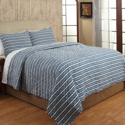 Cottage Home - Riker Blue Stripe Cotton 3-piece Quilt Set - The Riker quilt set can be added to any bedroom for maximum comfort and style. Constructed of 100-percent cotton,the quilt features a striped pattern in a blue finish. Two shams are included to complete the look.