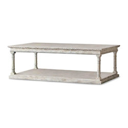 Eloquence - Gustav French Country Style Weathered Beige Carved Oak Wood Coffee Table - Streamlined and stylish, with classic Scandinavian hand-carved leaves detailing the edges, this coffee table embodies understated elegance. Distressing creates a unique color palette of grey, taupe, cream and white, highlighting the intricate carvings on the four legs and rectangular base.