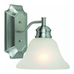 DHI-Corp - Bristol 1-Light Wall Sconce, Satin Nickel - The Design House 516666 Bristol 1-Light Wall Sconce is made of formed steel, crisp alabaster glass and finished in satin nickel. This sconce's petite design mounts seamlessly to the wall without a chain or visible wires. This 1-light wall mount is rated for 120-volts and uses (1) 60-watt medium base incandescent bulb. Measuring 8.5-inches (H) by 7.5-inches (W), this 1.8-pound fixture can be mounted facing up or down depending on location and preference. Clean lines and sleek details add a modern accent in a bathroom. This product is UL and CUL listed and approved for damp areas. The Bristol collection features a beautiful matching pendant, chandelier, ceiling mount and vanity light. The Design House 516666 Bristol 1-Light Wall Sconce comes with a 10-year limited warranty that protects against defects in materials and workmanship. Design House offers products in multiple home decor categories including lighting, ceiling fans, hardware and plumbing products. With years of hands-on experience, Design House understands every aspect of the home decor industry, and devotes itself to providing quality products across the home decor spectrum. Providing value to their customers, Design House uses industry leading merchandising solutions and innovative programs. Design House is committed to providing high quality products for your home improvement projects.