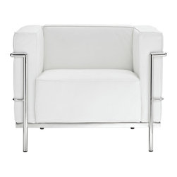 IMPORT LIGHTING & FUNITURE - LC Arm Chair, White - Each piece is made to preserve the specifications of the original using modern day manufacturing techniques, so every surface is sleek and smooth. This chair features a stunning black or white pu seat and a stainless steel frame.