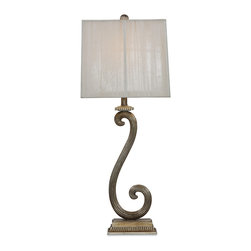 Bassett Mirror - Stafford Table Lamp - Illuminate your home with the stylish Stafford Table Lamp. This elegant, old-world inspired lamp features a vertically textured square drum shade that complements its reeded swirl base finished in antique silver. Set it on an entryway table for a dramatic look. Requires 60 watts or less, bulbs not included.