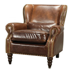 Joshua Marshal - Leather And Nail Head Arm Chair - Leather And Nail Head Arm Chair