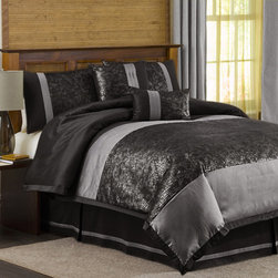 "Lush Decor - Metallic Animal 6 Piece Comforter Set in Black / Silver - This black and silver crocodile-print comforter set offers an exotic appeal for your bedroom. A matching bedskirt and throw pillows provide finishing touches to this Lush six-piece comforter set. Features: -Available in California King, Full, King, Queen sizes. -Set includes: 1 comforter, 1 bedskirt, 2 pillow shams and 2 decorative pillows. -Color: Black / Silver. -Construction material: printed plush fabric and faux silk, 100% polyester, 250gsm. -Comforter, bedskirt and shams dry clean. -Pillows spot clean only. -Dimensions: 88""-92"" Height x 78""-102"" Width."
