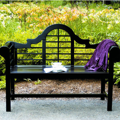 4' Lutyen Bench - Black Lacquer - Here we have our gorgeous 4' Lutyen Bench fashioned of eucalyptus grandis. This bench is finished with black polyurethane giving it an even color. This bench is as comfortable as it is beautiful with its high back and rounded arms!