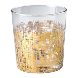 Kathy Kuo Home - Icicle Hollywood Regency Gold Crosshatch Glasses - Set of 4 - Classic rocks glasses get a modern update with delicate gold crosshatch details. The elegant glasses hold the perfect serving of your favorite drink. A set of four comes together with individual glasses available separately.