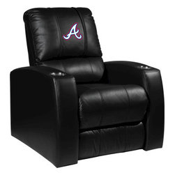 Dreamseat Inc. - Atlanta Braves MLB Alt Logo Home Theater Leather Recliner - Check out this awesome Leather Recliner. Quite simply, it's one of the coolest things we've ever seen. This is unbelievably comfortable - once you're in it, you won't want to get up. Features a zip-in-zip-out logo panel embroidered with 70,000 stitches. Converts from a solid color to custom-logo furniture in seconds - perfect for a shared or multi-purpose room. Root for several teams? Simply swap the panels out when the seasons change. This is a true statement piece that is perfect for your Man Cave, Game Room, basement or garage. It combines contemporary design with the ultimate comfort from a fully reclining frame with lumbar and full leg support.